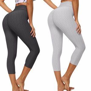 High Waist Capris Yoga Pants Tummy Control Workout